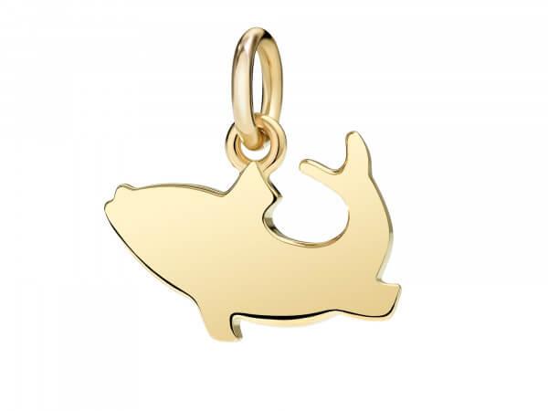 Dodo Charm großer Goldfisch aus Gelbgold