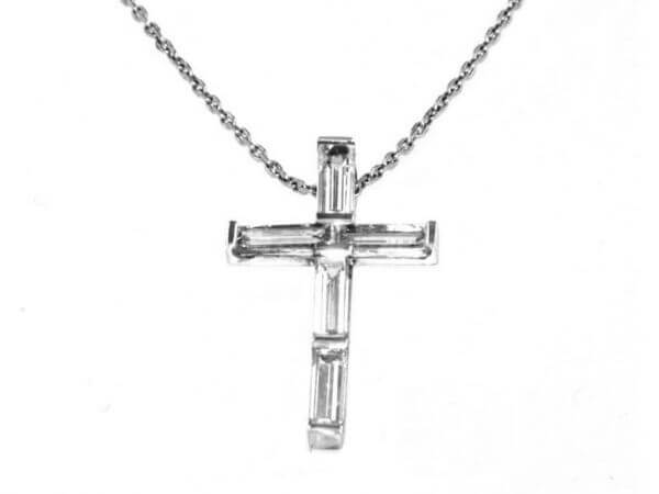 Kette mit Kreuz Weißgold Diamant Baguett