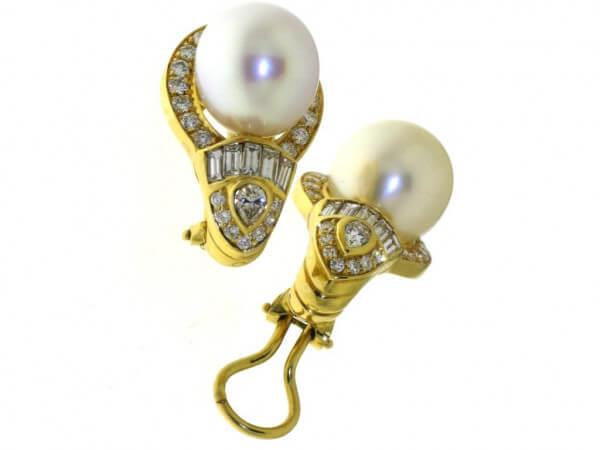 Ohrringe Südsee Perlen und Diamanten