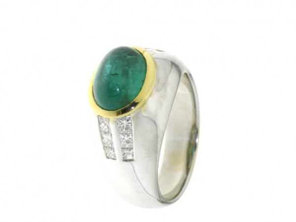 Ring 750 Weißgold Smaragd und Diamanten