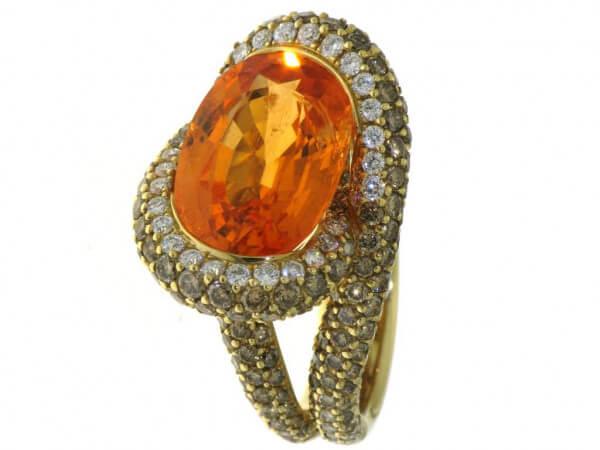 Ring 750Gelbgold Mandaringranat/Brillant