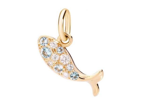 Dodo Anhänger Fisch Safire und Diamanten