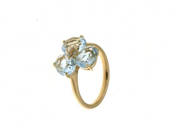 Ring aus Roségold mit Blautopas,Brillant