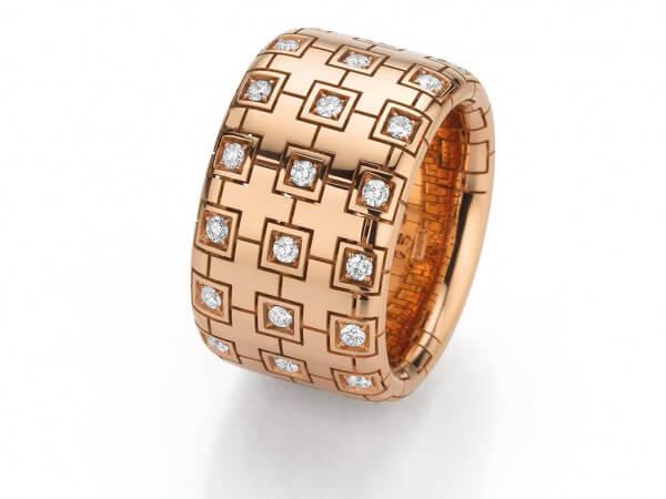 Ring aus Roségold 14mm breit Brillanten