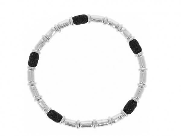 Armband Silber mit polvere in schwarz