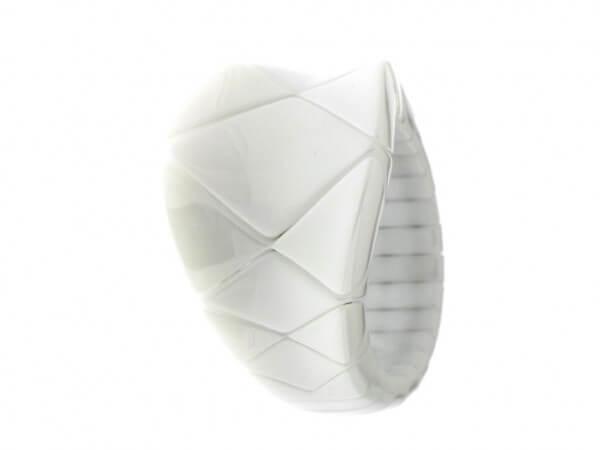 Ring Aura Concave aus weißer Keramik