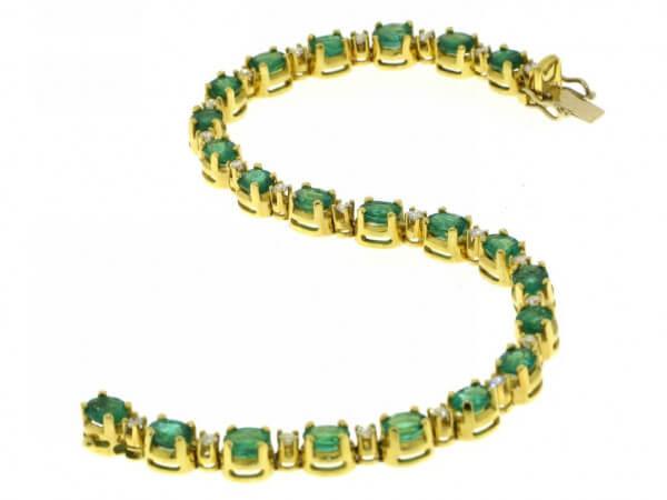 Armband 750 Gelbgold Smaragde,Brillanten
