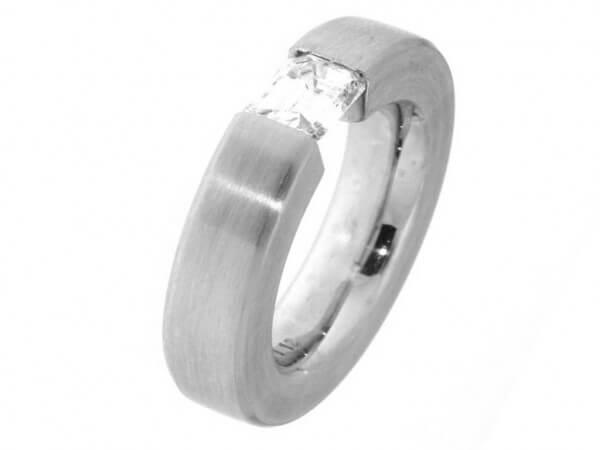 Ring aus Weißgold 1 Diamant Baguette