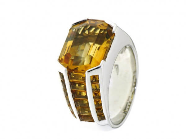 Ring 750 Weißgold und Citrine
