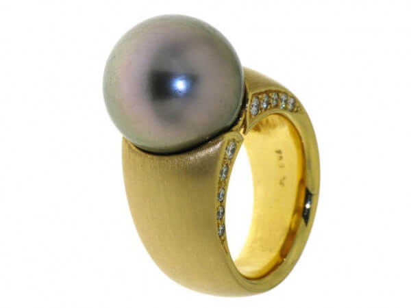 Ring Gelbgold mit Südsee Perle 14-15 mm