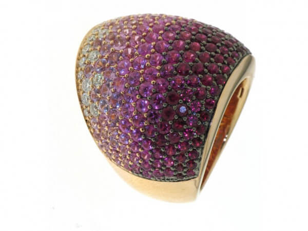 Ring Roségold Rubine,pink Safir,Brillant