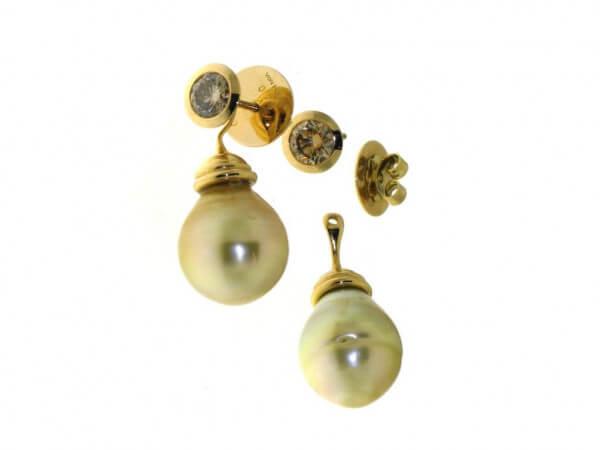 Ohrstecker Südsee Perle mit Brillanten