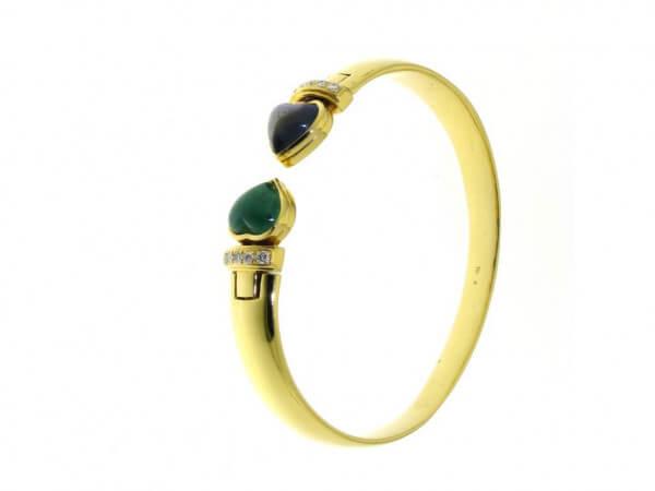 Armreif Gelbgold mit Safir und Smaragd