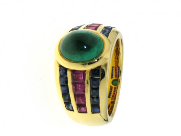 Ring 750 Gelbgold Smaragd,Rubin,Safir