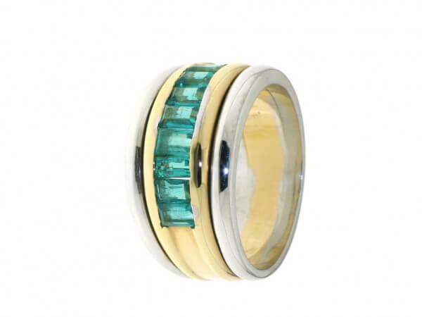 Ring 750 Gelb/Weißgold Smaragde