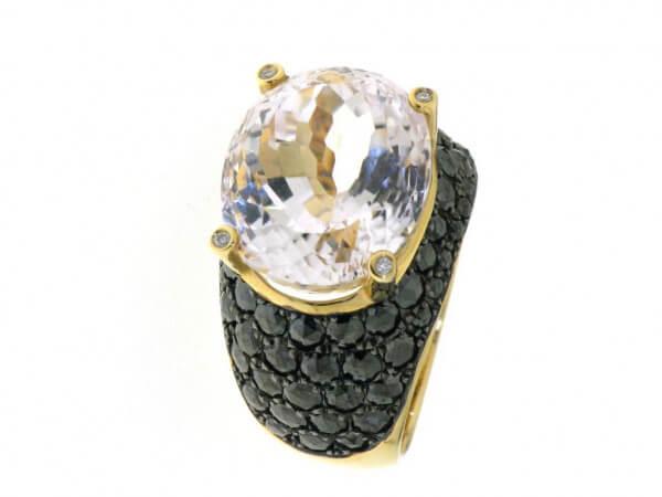 Ring 750 Roségold Kunzit und Diamanten