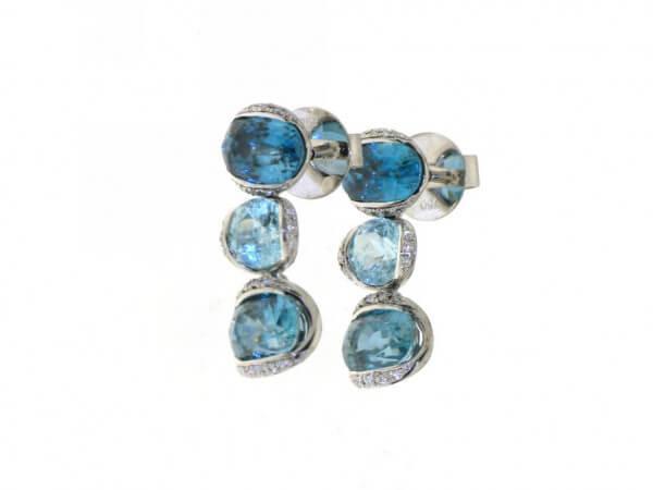Ohrringe Paraiba Turmalin,blaue Zirkone