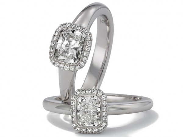 Ring aus Weißgold 1 Cushion Diamant 0,31