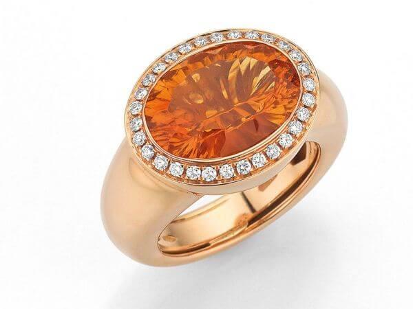 Ring aus Roségold Citrin und Diamanten