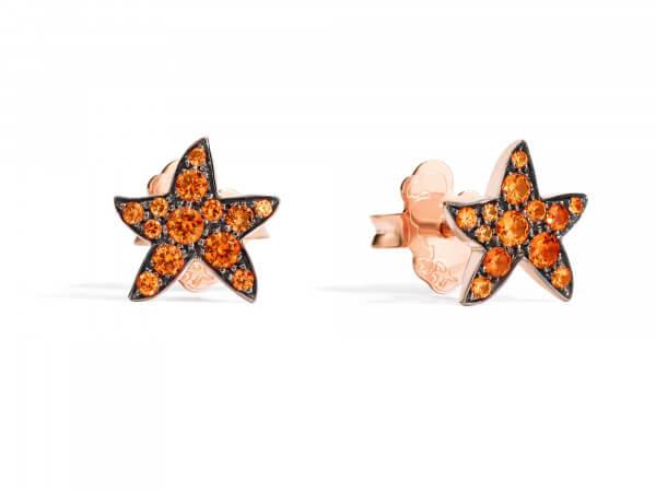 Dodo Ohrringe Seesterne mit orange Safir