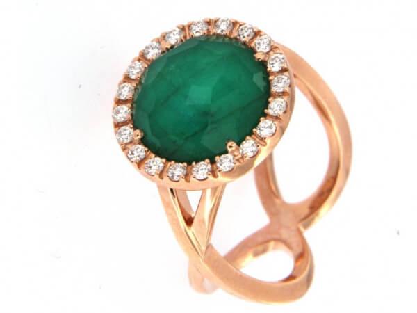 Ring Roségold mit Smaragd Triplette
