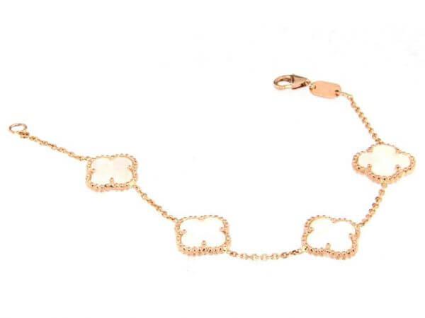 Armband aus Roségold mit 5 Perlmutt