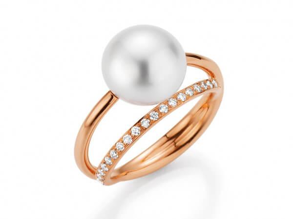 Ring mit Südsee Perle und Brillanten