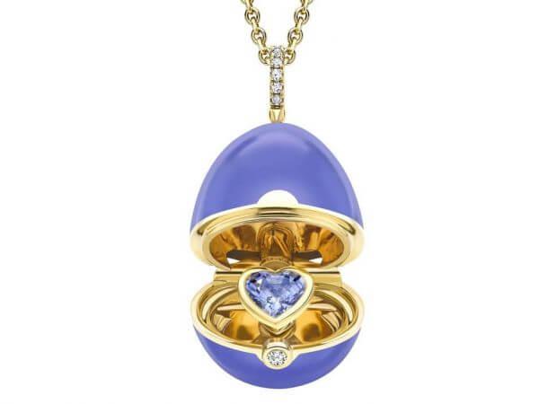Faberge Ei Anhänger Blau Lack,Safir Herz
