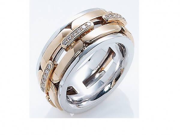 Ring drehbar 750 Rose und Weißgold