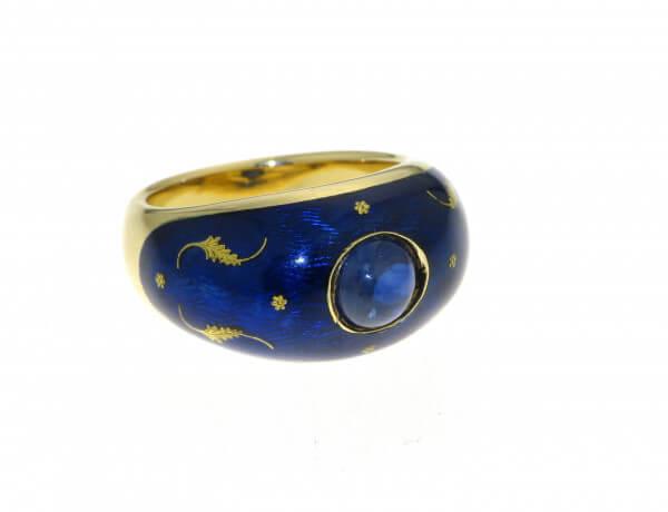 Fabergé Ring Gelbgold Emaille und Safir