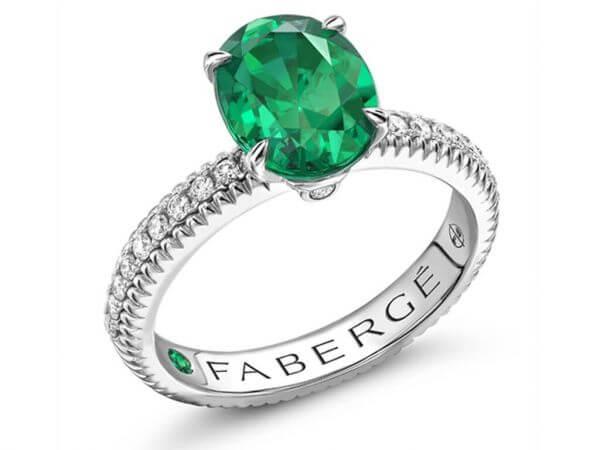 Fabergé Ring aus Weißgold mit Smaragd