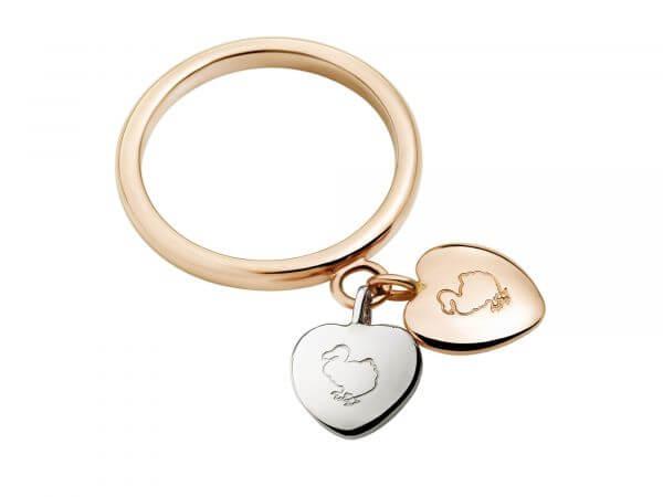 Dodo Ring Cuori Herzen Silber und Gold