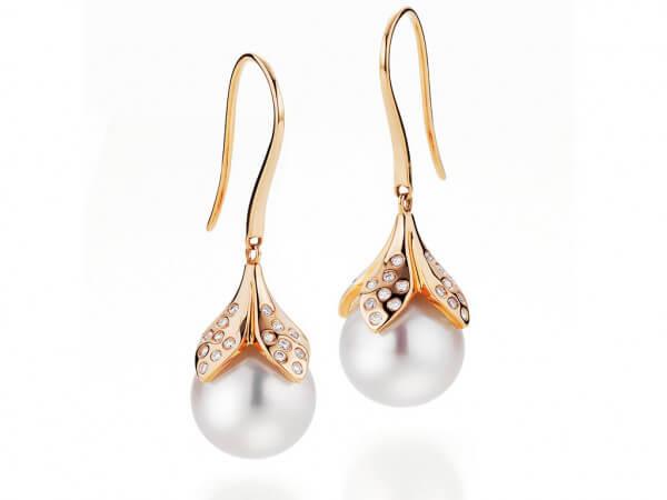 Ohrringe mit Südsee Perlen 10-11 mm