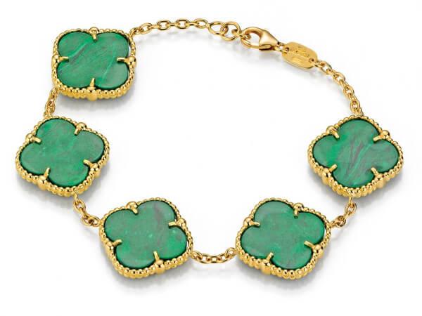 Armband aus Gelbgold mit grünem Achat