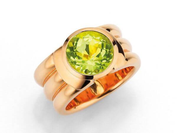 Ring aus Roségold mit Lemonquarz 11 mm