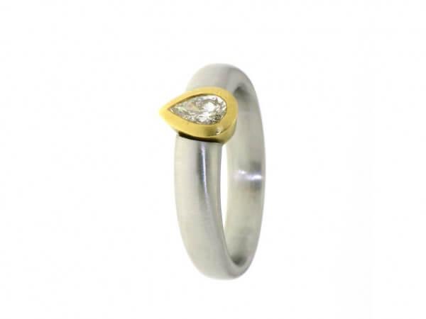 Ring 950 Platin/750 Gelbgold 1 Diamant