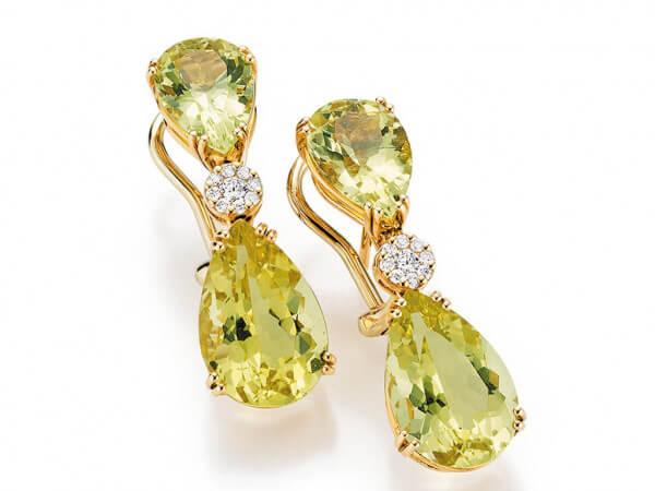 Ohrringe aus Roségold mit Beryll,Diamant