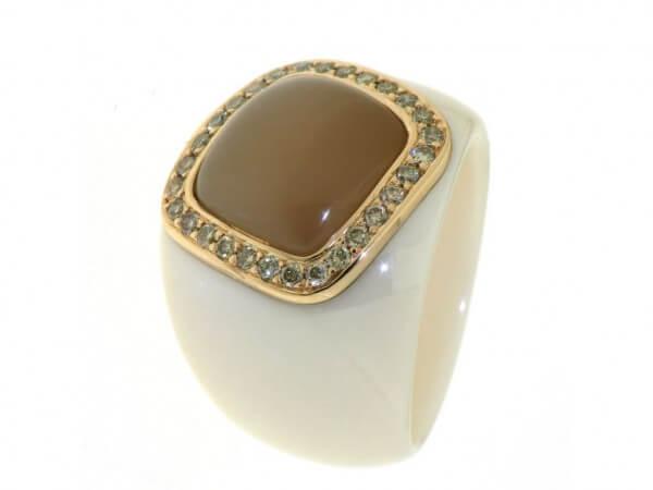 Ring beige Hightech Keramik Mondstein